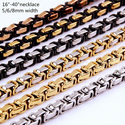"18-40""MEN Stainless Steel 5/6/8mm Silver/Gold/Black Byzantine Box Chain Necklace"