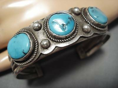Thick And Heavy!! Vintage Navajo Sky Blue Turquoise Sterling Silver Bracelet Old