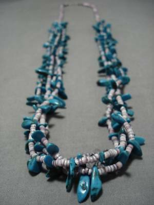 Important!! Purple Heishi Vintage Navajo Turquoise Sterling Silver Necklace Old