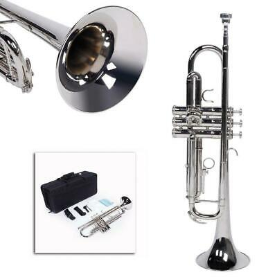 New Silver Student Concert Bb Golden Trumpet w/ Case Mouthpiece for Beginner