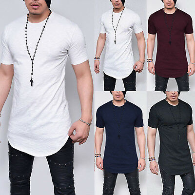 Mens Longline Curved Hem Short Sleeve T Shirt Fitness Muscle Basic Sport Tee Top