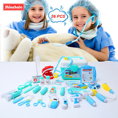 Shinehalo Pretend Role Play 36 Pieces Doctor Playset Medical Toys AU for Kids