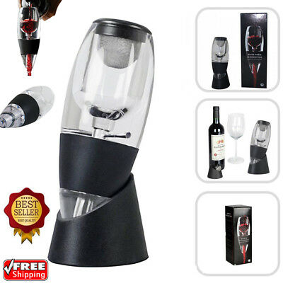 Wine Aerator Decanter Filter + Red White Wine Flavour Enhancer and Stand