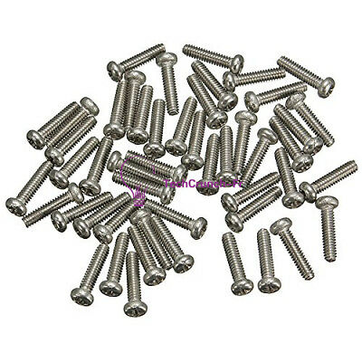 50PCS M2X6mm Screws Stainless Steel Round Head Plain Phillips Metric Machine NEW