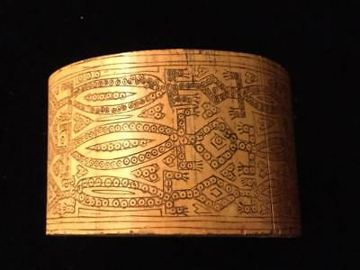 Timor INDONESIA  unique carved bamboo bracelet crocodile motif SIGNED by ARTIST