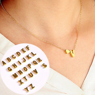 Women A-Z 26 Letters with Love Heart  Pendant Necklace Valentine's Day Christmas