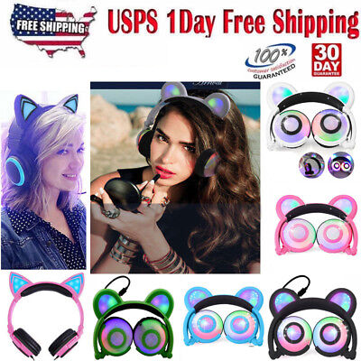 Bear Mouse Ear LED Light Up Flashing / Glowing  Headphones Foldable Xmas gift