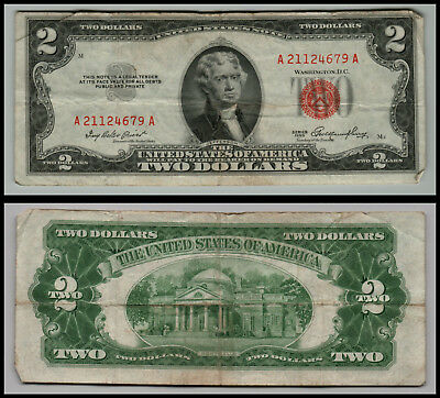 1953 $2 Dollar Bill Old Us Note Legal Tender Paper Money  Red Seal =G755