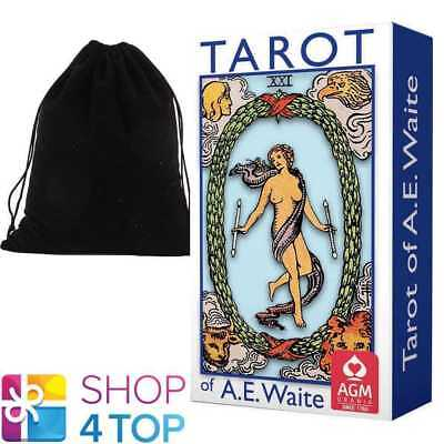 Tarot Of Ae Waite Mini Deck Cards Blue Edition Rosy Cross Agm With Velvet Bag