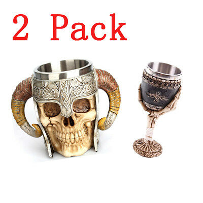 Set of Horn Handled Coffee Skull Calice Boccali di birra Stein Tankard Bone