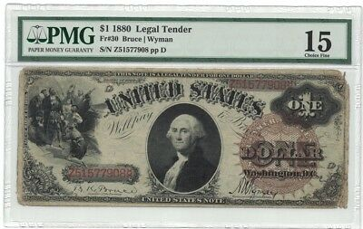 SC 1880 $1 Fr.30 PMG 15 Big Spiked Brown Seal. PMG 15