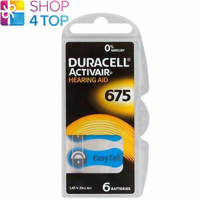 6 Duracell Activair Hearing Aid Batteries 675 Zinc Air 1.45V Mercury Free New