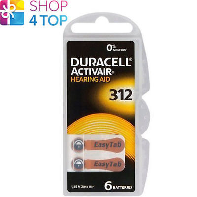6 Duracell Activair Hearing Aid Batteries 312 Zinc Air 1.45V Mercury Free New