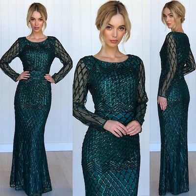 Gorgeous Size 10 Sequins Emerald Colour Formal Wedding  Ball GownParty Green