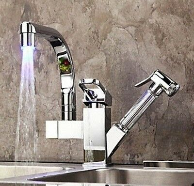 Led 360 Swivel Deck Mount Faucet Basin Kitchen Pull Out Spray Sink Mixer Tap