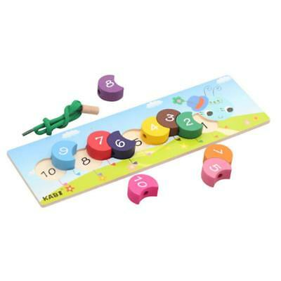 Wooden Caterpillar Lacing Threading Blocks Kids Child Early Learning Toys T