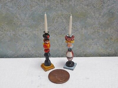 Cute 1:12 Scale Miniature Karen Markland PAIR of Babes in Toyland candlesticks