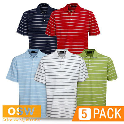 5 X Adults Modern Fit Cotton Striped Office Golf Casual Breathable Polo Shirts