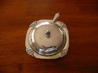 Vintage Silver Plate Jam or Condiment Server Lid Glass Insert Silver Plate Spoon
