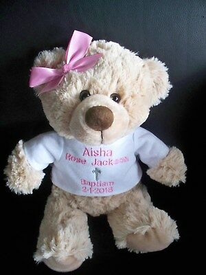 Christening Gift Personalised Teddy Bear Baptism Gift  26cm Any names/message