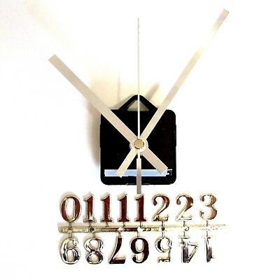 Silent Quartz Clock Craft Making Kit - 20mm Silver Numbers - 119mm Silver Hands