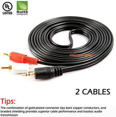2 Pack 3.5mm Female To 2 RCA Male Aux Auxiliary Gold Stereo Audio Adapter Cable
