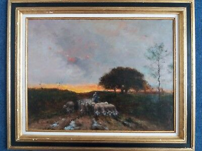 Beautiful 19th Century Barbizon French Impressionist oil painting on Canvas