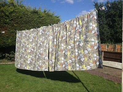 """A Pair of Large Vintage Floral Cotton Curtains Used Fabric Sewing 92"""" W x 70"""" L"""