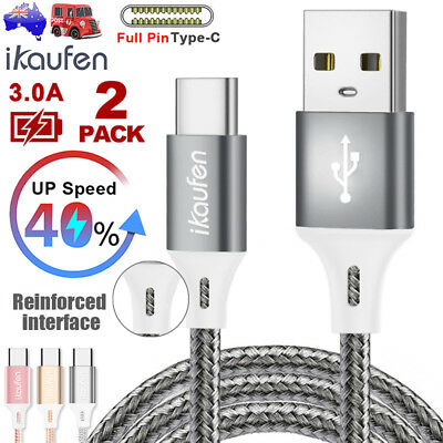 2x Strong Braided Cable USB Male Type-C Data Sync Fast Charger Charging Cord HTC