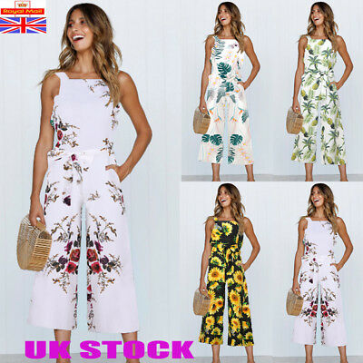 UK Womens Holiday Floral Long Playsuit Ladies Jumpsuit Summer Beach Dress 6 - 16