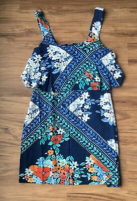 Anthropologie Maeve Women's two tiered dress blue tropical flower Sz 2