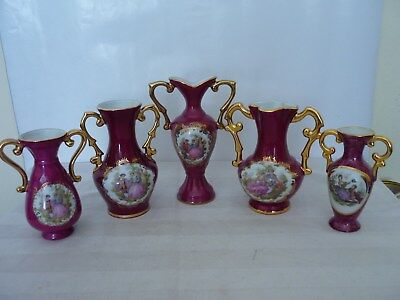 Antique/Vintage Limoges Porcelaine Urn's Job Lot 5 Items.