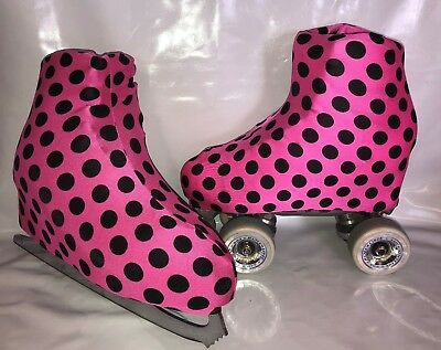 Pink with Black Spots Boot Covers for RollerSkates and Ice Skates  S, L