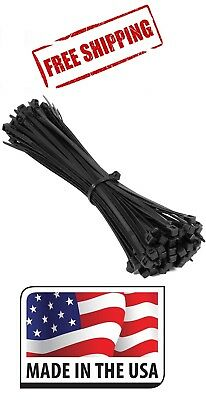 (500) 8 Inch Nylon Zip Cable Ties Wire Tie Wraps 18 Lbs Black Uv Resistant Usa