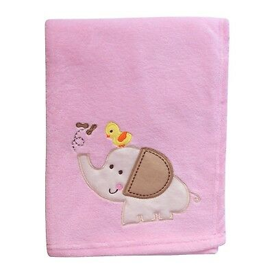 Baby Newborn Soft Fleece Blanket Pram Girl Cute Pink Elephant 0+ Month