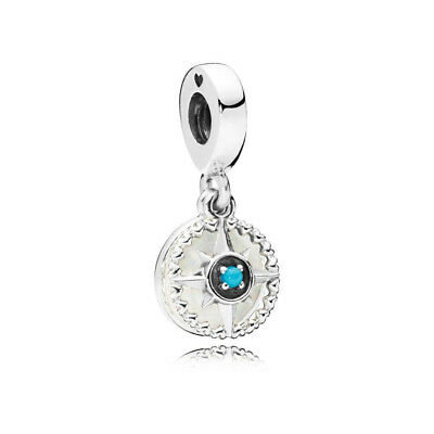 Authentic Pandora 797196EN23 Compass Rose Dangle Enamel & Cyan Blue Crystal Bead