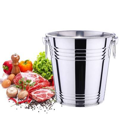 Stainless Steel Ice Bucket Champagne Wine Cooler w/ Handles 3L 5L Bar Pub Party