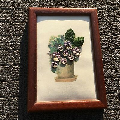 """POTTED COLOUR """"Purple"""" Flowers Decorative Picture in Classic Wooden Frame"""