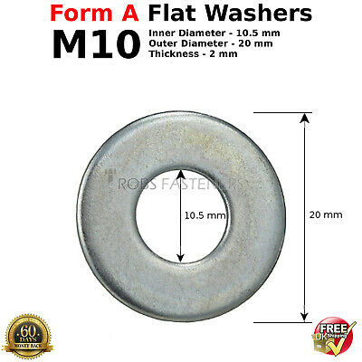 10mm M10 stainless steel flat washers pack 10 25 50 universal bolts nuts