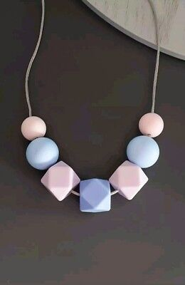 Silicone Sensory Necklace (was Teething) Purple Blue Pink Beads Handmade For Mum