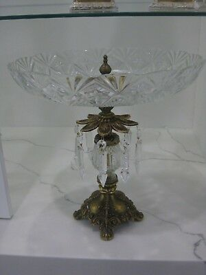 Vintage French  Opulent Crystal Tazza With Bronze Gilt Base & Crystals Prism