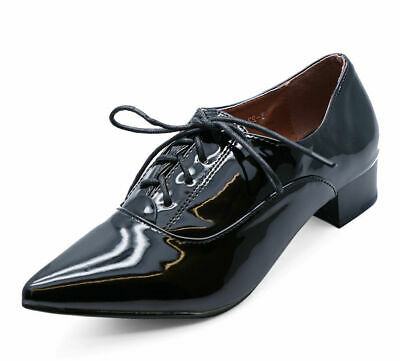 Ladies Black Patent Lace-Up Oxford Brogue Pointy Work School Hipster Shoes 3-8