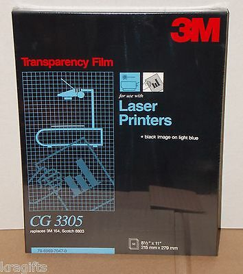 "3M Sealed Box Of 50 8.5""x11"" CG 3305 Transparency Film Black Image On Light Blue"