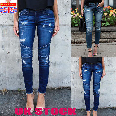 Uk Womens Ripped Stretchy Skinny Jeans Ladies Fitted Jeggings Pants