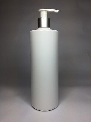 500ml White Cylindrical PET Plastic Bottle & Silver/White Lotion Pump ANY AMOUNT