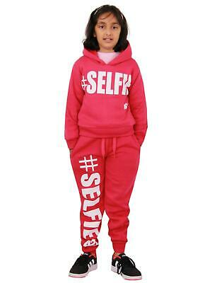 Kids Girls Tracksuit Designer #Selfie Jogging Suit Hooded Crop Top & Bottom 5-13
