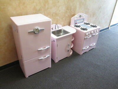 Pottery Barn Kids 3 Pc Kitchen Set Pink Retro Girls Fridge Sink