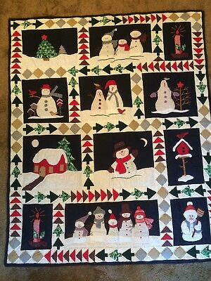 Quited Applique Patchwork Snowman-Winter Scene Blanket-Bed-Cover-Throw-48x 59.5