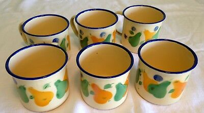 Enamel Cups/Mugs Vintage; Total of 6.  Beige Background, Green, Blue.