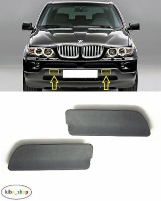 Left Unpainted For BMW X5 E53 2000-2003 Pair Front Bumper Tow Hook Cover Right